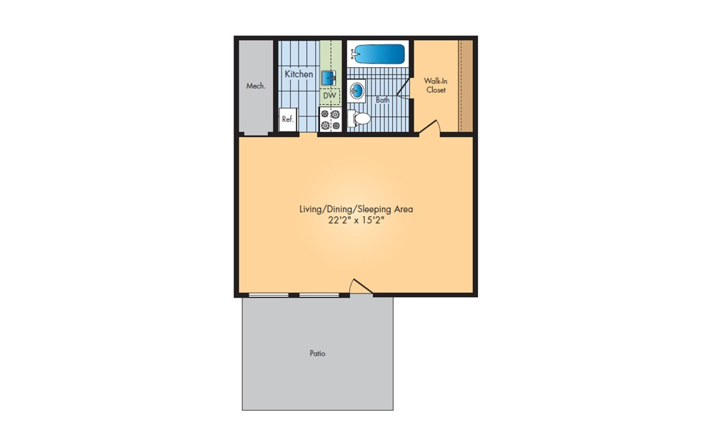 Studio - Studio floorplan layout with 1 bath and 470 square feet.